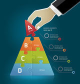 Businessman hand making a pyramid business strategy diagram puzz — Vettoriale Stock