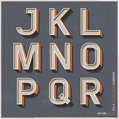 Alphabet retro colour style. Vector illustration. — Stock Vector