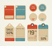 Price tags retro color design, vector illustration. — Stock Vector