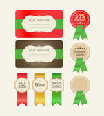 Set of promotion cards design with ribbons. Vector illustration — Stock Vector