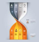 Banner di moderno orologio sabbia spirale infografica opzioni. — Vettoriale Stock