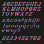 3d alphabet et des nombres — Vecteur