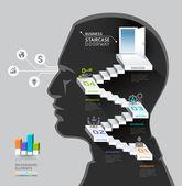 思考のビジネスマン — ストックベクタ