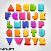 3D alphabet number colorful — Stock Vector