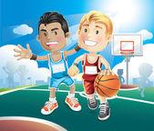 Kids playing basketball — Stock Vector