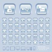 Szkło niebieskie przyciski — Wektor stockowy