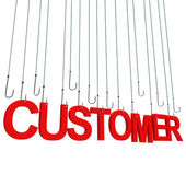 """cliente"" gancio appeso. — Foto Stock"