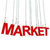 """Market"" hanging on hook. — 图库照片"