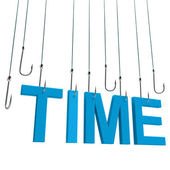 """Time"""" hanging on hook. — Stock Photo"
