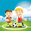 Children playing soccer outdoors — Stock Vector