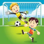 Children playing soccer — Stock Vector