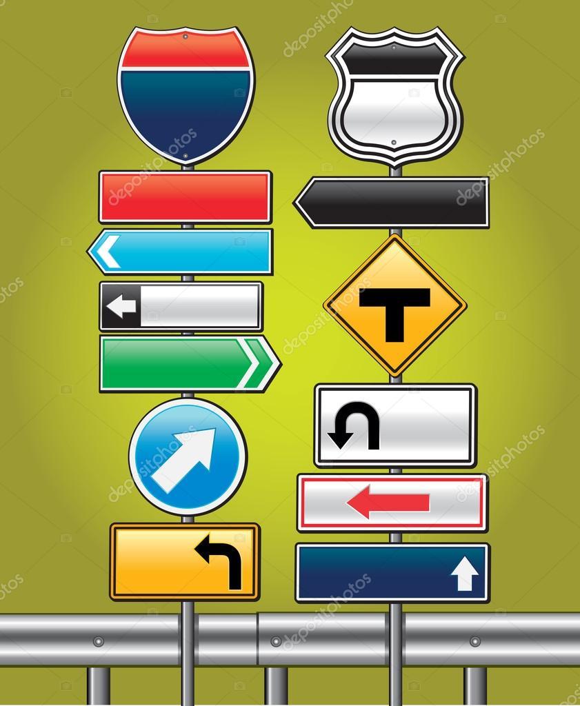 道路标志板 — 图库矢量图像08