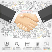 Business handshake Infographics option. — 图库矢量图片