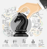 Business hand with chess infographics option. — Stock Vector
