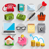 Business flat icons color set. — 图库矢量图片