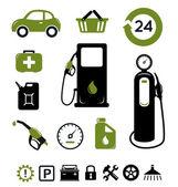 бензин станции иконы set — Cтоковый вектор