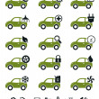 Car service icons green set — Stock Vector