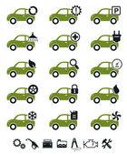 Car service icons green set — Stock Vector