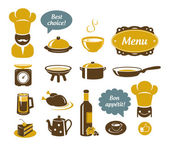 Kitchen and restaurant icons — Stock Vector