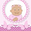 Happy African baby girl scrapbook pink frame — Stock Vector