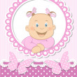 Happy baby girl scrapbook pink frame — Stock Vector #13127368
