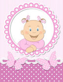 Happy baby girl scrapbook pink frame — Stock Vector