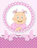 Happy baby girl scrapbook pink frame — Stock Vector
