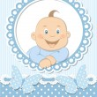Happy baby boy scrapbook blue frame — Stock Vector