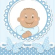 Happy African baby boy scrapbook blue frame — Stock Vector