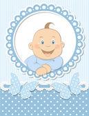 Happy baby boy scrapbook blue frame — Stock Vector