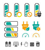 Battery recycling pictograms set — Stock Vector