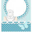Stock Vector: Happy baby hippo blue scrapbook set