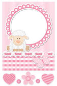 Happy baby sheep pink scrapbook set — Stock Vector