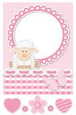 Happy baby sheep pink scrapbook set — Stock Vector