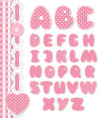 Retro scrapbook font pink color — Stock Vector