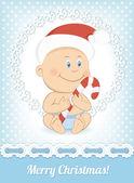 Bebé gracioso Navidad en sombrero de santa claus — Vector de stock
