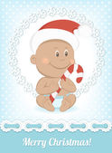 Funny Christmas African baby in Santa Claus hat — Stock Vector