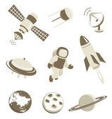 Set di icone di trasporto dello spazio e dell'aria — Vettoriale Stock