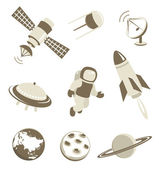 Space and air transport icons set — Stock Vector