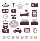 Hotel icons set — Stock Vector