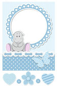 Baby hippo blue scrapbook set — Stock Vector