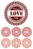 Rote vintage stempel für valentinstag — Stockvektor