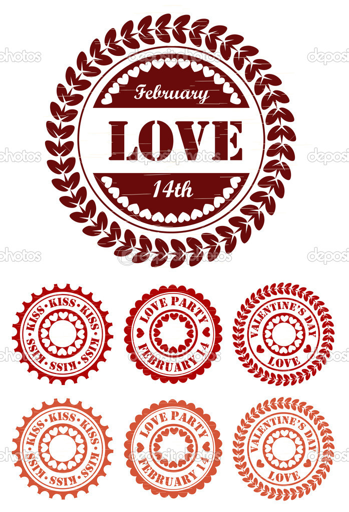 Red vintage stamps for Valentine day — Stock Vector #16858361