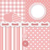 Pink scrapbook set — Stock Vector