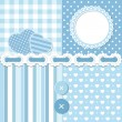 Vector de stock : Blue scrapbook set