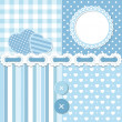 Stock Vector: Blue scrapbook set