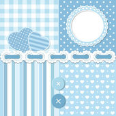 Blue scrapbook set — Vettoriale Stock