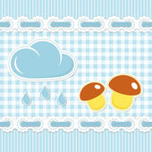 Blue checked pattern with mushroom — Stock Vector