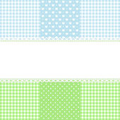 Lace border on fabric checked background — Stock Vector