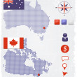 Australia and Canada dotted maps with design elements — Stock Vector